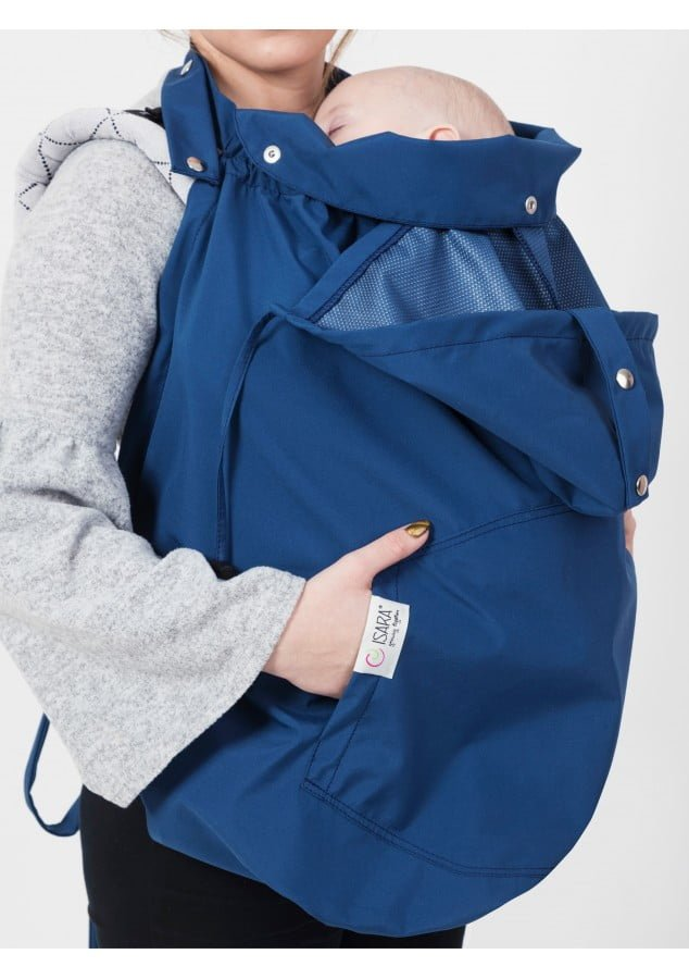 Protectie babywearing de ploaie Clever Cover - Droplet Blue Isara
