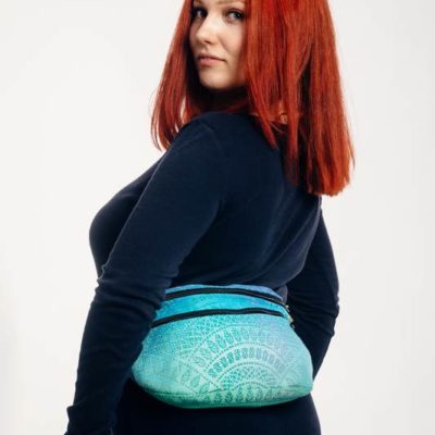 Waist Bag made of woven fabric, size large (100% cotton) - PEACOCK'S TAIL - FANTASY